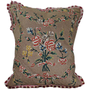 Petit Point Wool Pillow with Fringe Trim and Linen Back