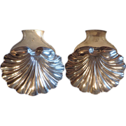 Large Pair Antique 18th c. English Georgian Old Sheffield Plate Silver on Copper Shell Form Dishes