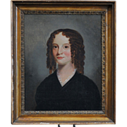 Early 19th century English Regency Portrait of a Young Girl in Brown Ringlets