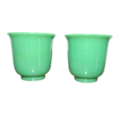 Pair Antique 19th century Chinese Peking Glass Green Wine Cups