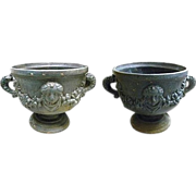 Large Pair Swedish Art Deco Cast Iron Garden Urns with Relief Masks, Garland Swags & Dolphin Handles