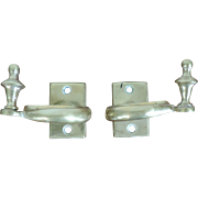 Antique Early 19th century American Federal Brass Jamb Hooks to Hold Fire Tools on the Hearth or Mantel