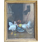 Early 20th century Painting of a Chicken Coop with Hens and Roosters