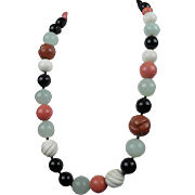 Antique Chinese Coral and Jade Necklace Beads Late 19th Early 20th century Qing