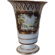 Antique Early 19th century English Regency Spode Porcelain Vase with Topographical Named View - Stone Quarry in Devon 1810