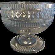 Large Georgian 19th c. Anglo Irish Crystal Compote Cut Glass George III 1810