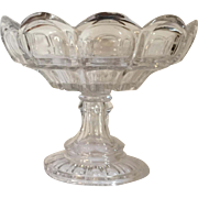 Antique 19th century American Empire Flint Glass Footed Compote Tazza Centerpiece or Fruit Bowl in Lead Crystal