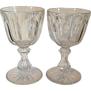 Large Pair Antique 19th century American Brilliant Period ABP Glass Cut Crystal Wine Goblets Dorflinger