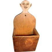 19th c. Carved Wood American Southern Folk Art Candle, Pipe or Match Box for the Mantle