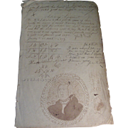 Early 19th c. American Federal Ink Wash / Drawing of President George Washington with Calligraphy Dated 1821