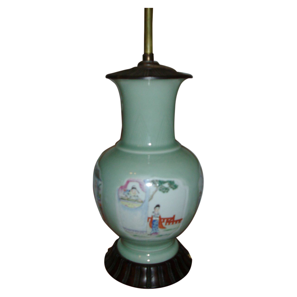 Early 19th c. Chinese Celadon Porcelain Vase with Polychrome Famille Rose Reserve Panels as Lamp