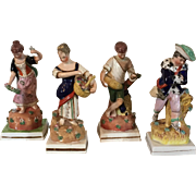 Set Four Large Early 19th c. Pearlware Staffordshire Figures of the Four Seasons - Spring, Summer, Autumn or Fall and Winter 1820