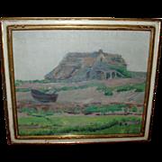 19th century American Impressionist Landscape Plum Island Marsh Oil on Canvas 1880