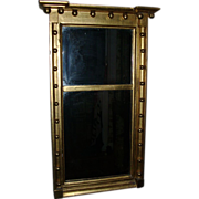 Antique 19th century American Federal Small Scale Gilt Wood Pier Mirror with Sphere / Ball Surround