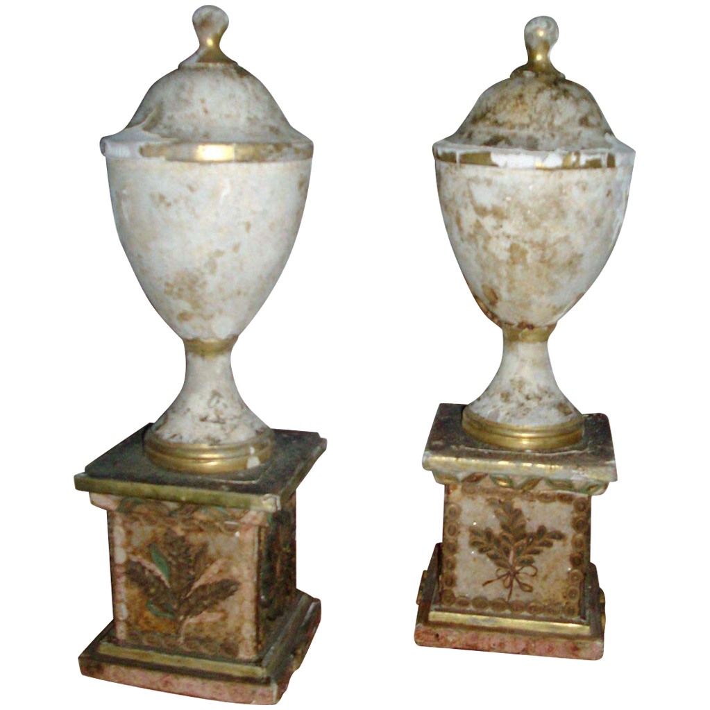 Pair Antique George III Gilt Wood Quill Work or Paper Scroll Classical Urns