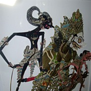 Three Antique 19th c. Balinese Leather Shadow Puppets Expertly Framed.