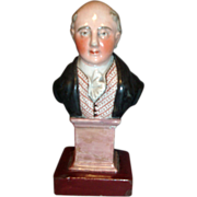 Antique 19th century Staffordshire Pearlware Portrait Bust of Prime Minister George Canning