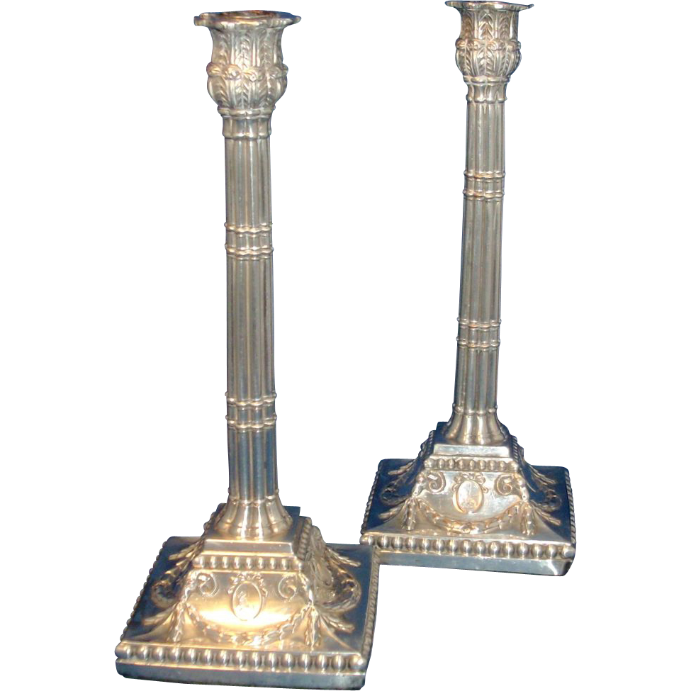 Antique 18th century English Old Sheffield Silver on Copper Candlesticks
