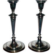 Fine Pair Early 19th century Old Sheffield Silver on Copper Plate Candlesticks