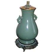 Fine Antique 19th century Chinese Monochrome Porcelain Celadon Vase as Lamp