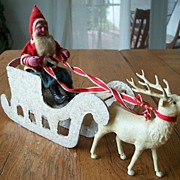 Vintage Paper Mache Santa With Sleigh And Reindeer Christmas