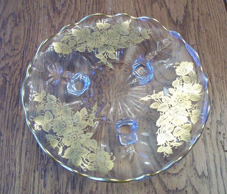 Gold Overlay New Martinsville / Viking's Torte Plate