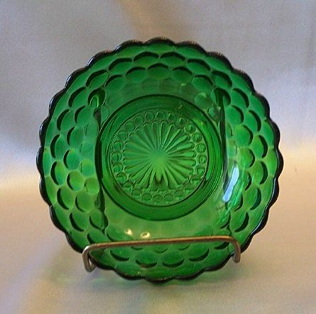 Anchor Hocking Forest Green Bubble Cereal Bowl