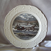 Sun Glo Studios Currier and Ives The Road In Winter Decorative Plate