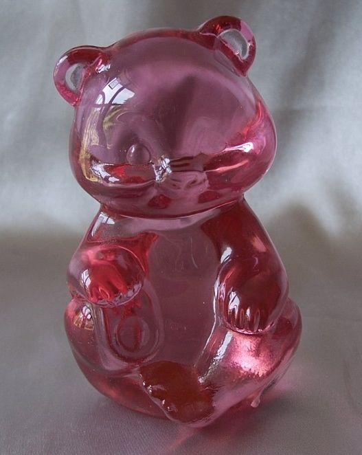Fenton Art Glass Pink Bear Figurine