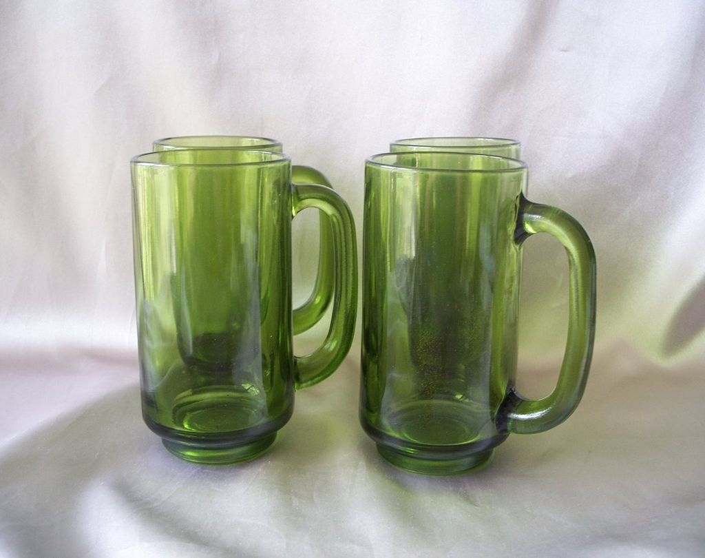 Four Avocado Glass Mugs