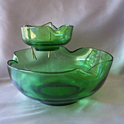Anchor Hocking Avocado Green Chip And Dip Set