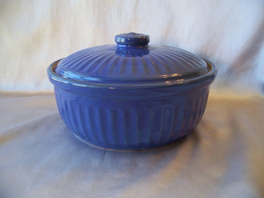 Blue Stoneware Casserole Baking Dish