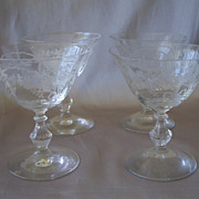 Four Fostoria Glass Crystal Corsage Low Sherbets
