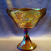 Indiana Glass Harvest Gold Carnival Glass Wedding Bowl
