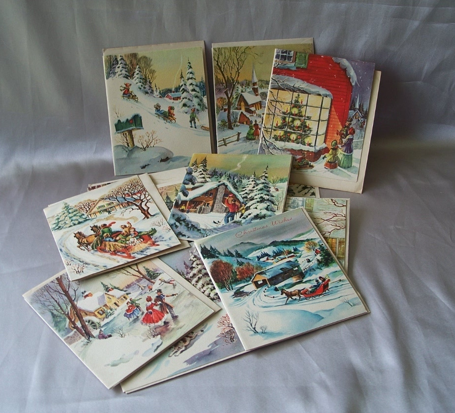 Fourteen American Greeting and One Hawthorne House Christmas Cards