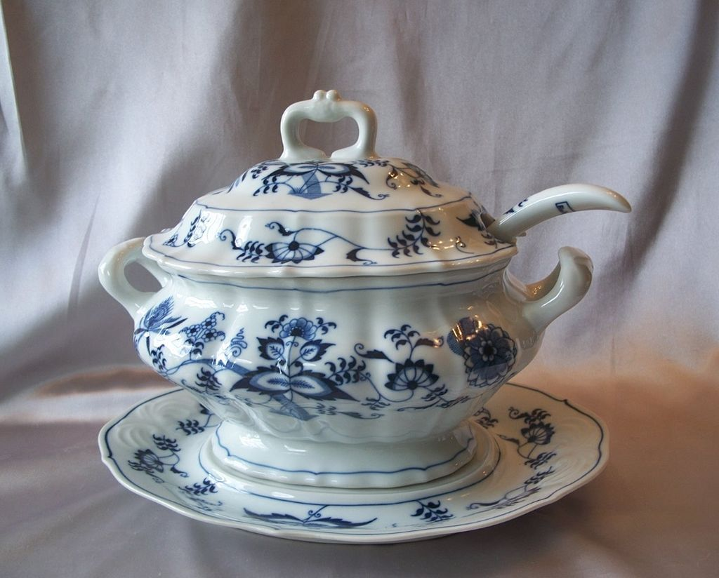 Blue Danube Soup Tureen with Lid Under Plate and Ladle