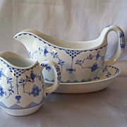 Furnivals Denmark Blue Gravy Boat  Underplate Creamer