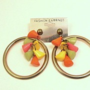 Bold, Bright & Colorful 1970's Hoop & Charm Earrings