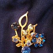 Stunning Bouquet of Blue ~ Aurora Borealis Flowers Pin