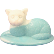 Westmoreland Blue & White Slag Glass Cat Covered Animal Dish Top / Lid Only
