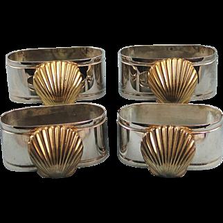 Four Silverplate Napkin Rings Seashell Decoration Vintage