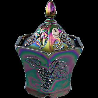 SALE Fenton Glass Black Carnival Candy Box Grapes Design