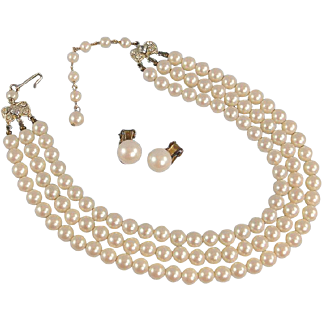 SALE Vintage Faux Pearl Necklace 3-Strand with Clip Earrings