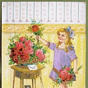 Early 1900s Embossed Gilded Gel Postcard, Pretty Child in Lavender Arranges Red and Pink Roses