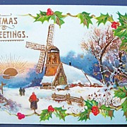 Early 1900s A.M.B. Gel Chromo Postcard, Villagers Walk through Snow on Christmas Morn, Windmill, Holly,