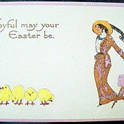 1913 Gene Carr Embossed Gilded Postcard, Stylish Edwardian Lady with Parasol Admires Easter Chicks, Eggs