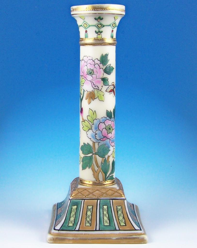 Ornate Nippon Candlestick, Classical Column on Base, Multi-color Florals, Butterfly, Gold Tracery and Beading