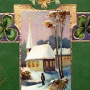 Early 1900s Embossed Gilded E.A.S. Gel Postcard, Man Approaches Snow-covered Steeple Church, 4-Leaf Clovers