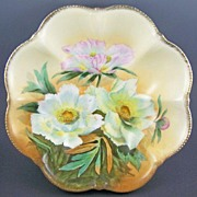 "Gorgeous PT (Tirschenreuth, Bavaria) Large 9 1/2"" Bowl, Lush White & Pink Flowers, Handpainted Accents, 1903-1920s"