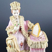Dresden-Style Porcelain Figurine, Lady in Lace Dressing Gown at Vanity Table, early 1900s